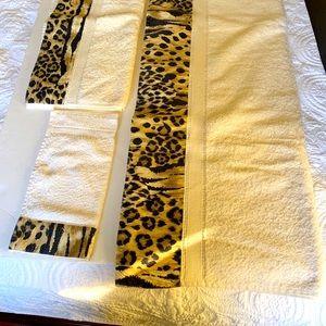 Leopard Print 100% Cotton Towels Bath Face Hand